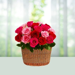 Pink And Red Roses Basket Arrangement