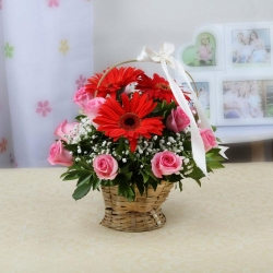 Pink Roses And  Red Gerbera Daisies Bouquet