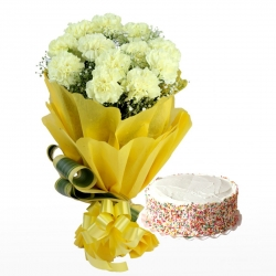 12 Yellow Carnations Bunch & Butterscotch Cake