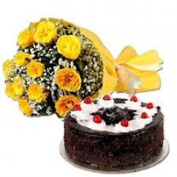 10 Yellow Roses Bunch And Black Forest Cake