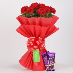 Red Carnations Bouquet N Chocolate
