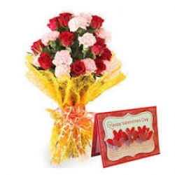 Carnation Bouquet N Greeting Card