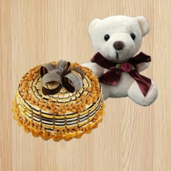 Butter Scotch Cake And Cute Teddy Bear