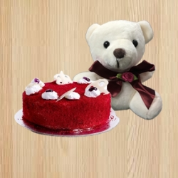 Red Velvet  Cake And Teddy