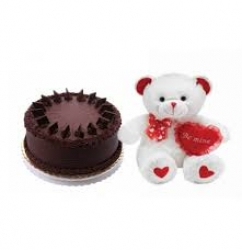 Chocolate Cake And Teddy Bear