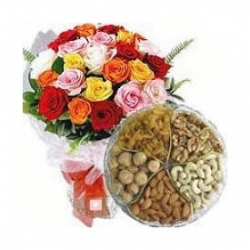 Roses And Dry Fruit Combo Gifts