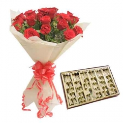 Red Roses Bunch And Kaju Roll  Combo