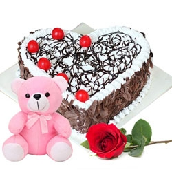 Heart Shape Cake And Pink Teddy