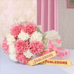 Carnations Bouquet And Toblerone Chocolate