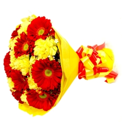 Yellow Carnations & Red Gerbera Bouquet