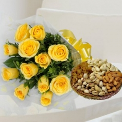 Yellow Roses Bunch And Dry Fruits