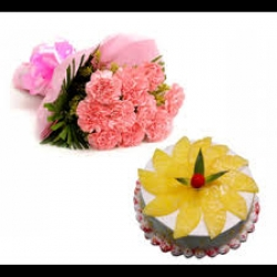 Pineapple Cake And Pink Carnation Bouquet