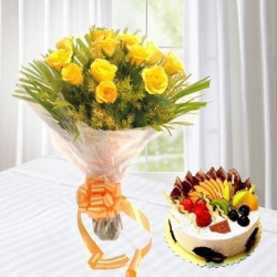 Fresh Fruit Cake And Yellow Roses Bouquet