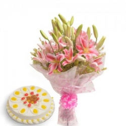 Pink Lilies Bouquet And Pineapple Cake