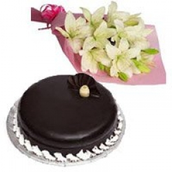 White Lilies Bouquet And Chocolate Cake