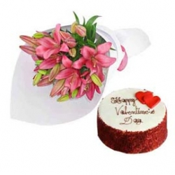 Red Velvet Cake And Pink Lilies Bouquet