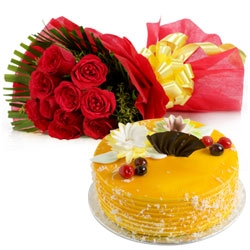 Mango Cream Cake And 12 Red Roses Bunch