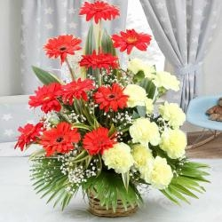 Red Gerbera Disies And  Yellow Carnation Bouquet