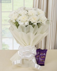 White Carnations With Chocolate Gift Hamper