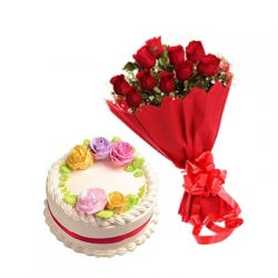 12 Red Roses Bunch And Vanilla Cake