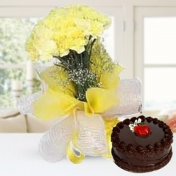 Yellow Carnation Bunch And Truffle Cake