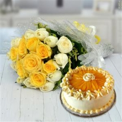 Roses Bouquet And Mango Cream Cake