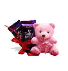 Pink Teddy And Chocolate Combo