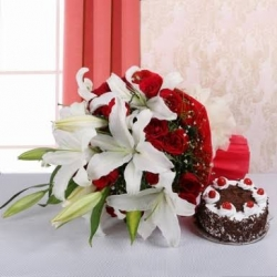Exotic Flower Bunch And Black Forest Cake