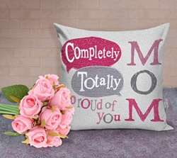 Personalized Cushion And Pink Roses Bouquet