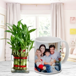 2 Layer Bamboo Plant And Personalized Mug
