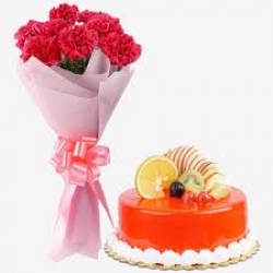 Pink Carnations Bouquet And Fresh Fruit Cake