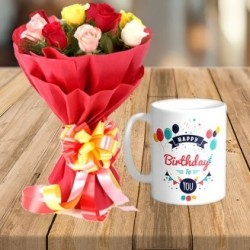 Personalized Mug And Roses Bouquet