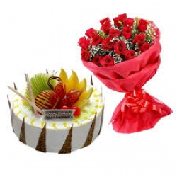 Red Roses Bunch And Fresh Fruit Cake