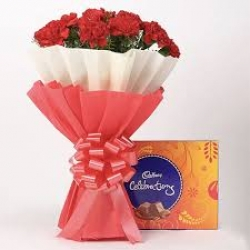 Red Carnations Bouquet With Cadbury Celebrations Box
