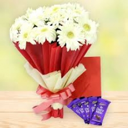 White Gerbera Bouquet With Chocolate