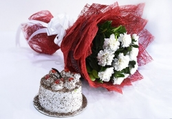 Black Fores Cake With White Carnations Bouquet