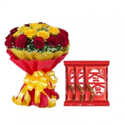 Yellow And Red Roses Bouquet With Chocolate Combo