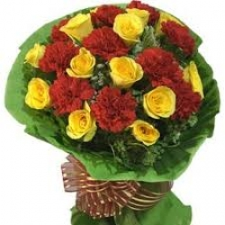 Bouquet Of Red Carnations And Yellow Roses