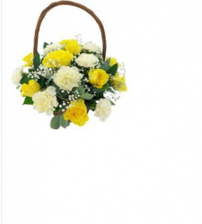 Bouquet Of White And Yellow Carnations