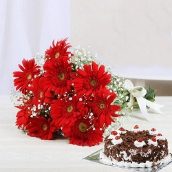 Bouquet Of Red Gerbera And Black Forest Cake