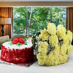 Red Velvet Cake And Yellow Carnations Bouquet