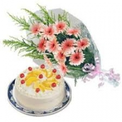 Pink Daisies With Pineapple Cake