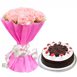 Bunch Of Pink Carnations And Black Forest Cake