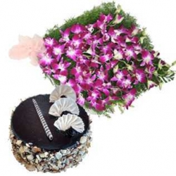 Orchid Bouquet With Chocolate Walnut Cake