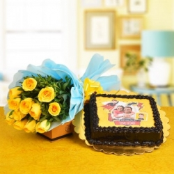Yellow Roses Bouquet With Photo Printed Cake