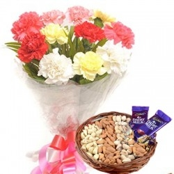 Crunchy Dry Fruits With Carnations Bouquet