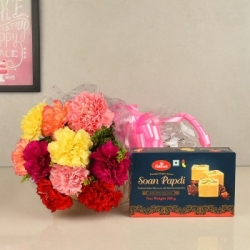 Carnations Bouquet With Soan Papdi Combo