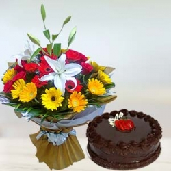 Mixed Flower Bouquet  Chocolate Cake