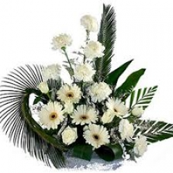White Gerbera And White Carnations