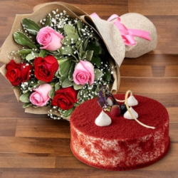 Red Velvet Cake With Roses Bunch